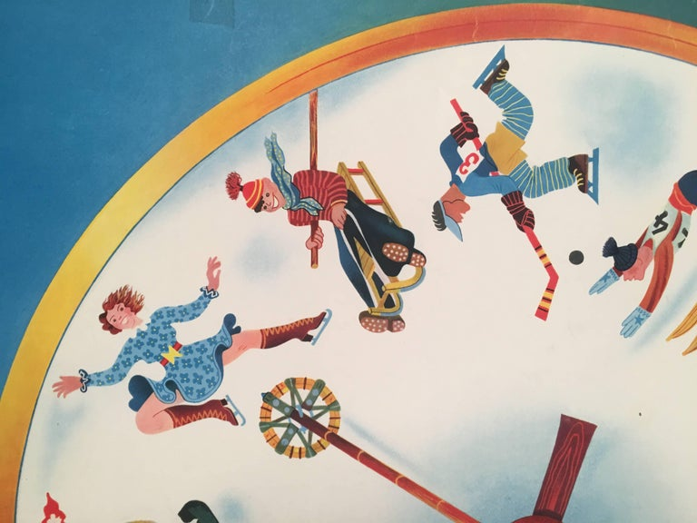 Swiss Winter Sports Travel Poster by Herbert Leupin In Good Condition For Sale In Essex, MA