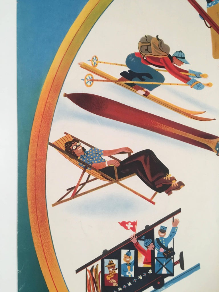 Mid-Century Modern Swiss Winter Sports Travel Poster by Herbert Leupin For Sale