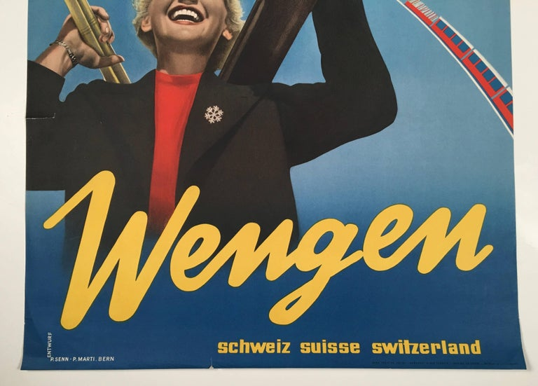 Wengen Swiss Ski Poster by P. Senn and P. Marti For Sale 1