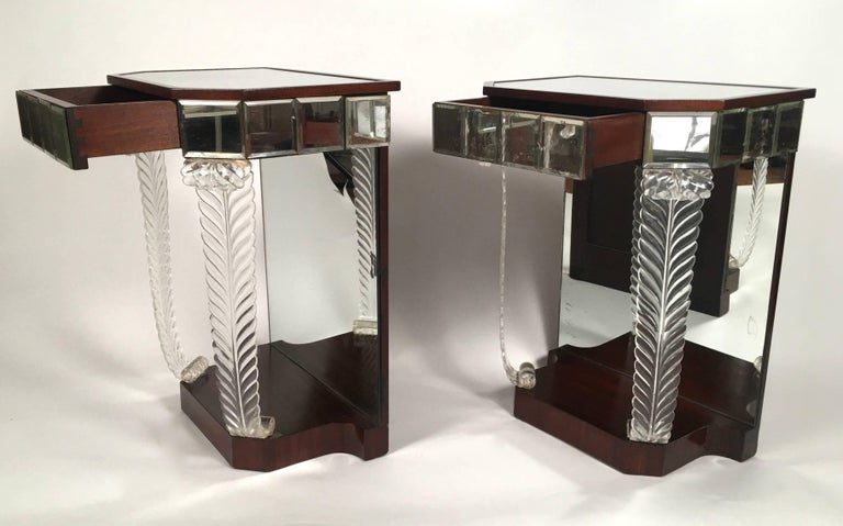 Pair of 1930s Grosfeld House Hollywood Regency Acanthus Leaf Tables In Good Condition For Sale In Essex, MA