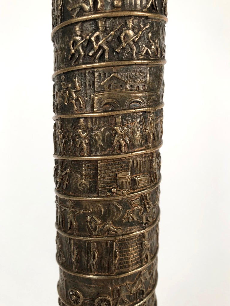 19th Century Large Grand Tour Gilt Bronze Model of the Place Vendome Napoleon Column in Paris For Sale