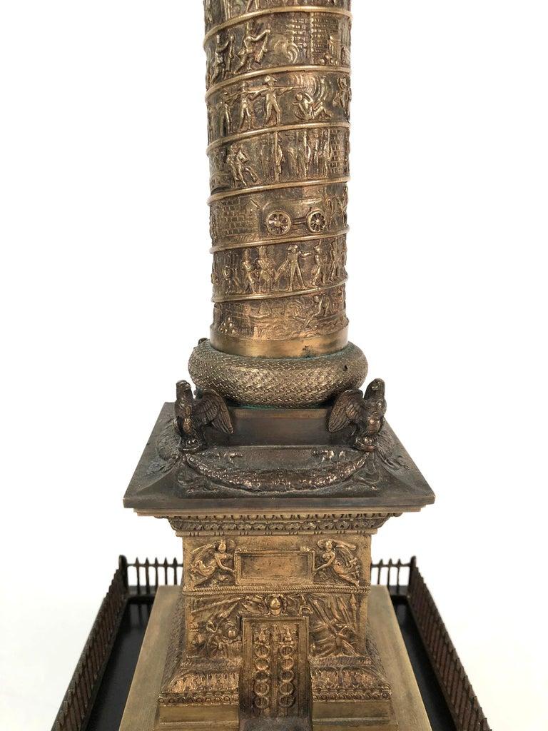 Large Grand Tour Gilt Bronze Model of the Place Vendome Napoleon Column in Paris For Sale 1