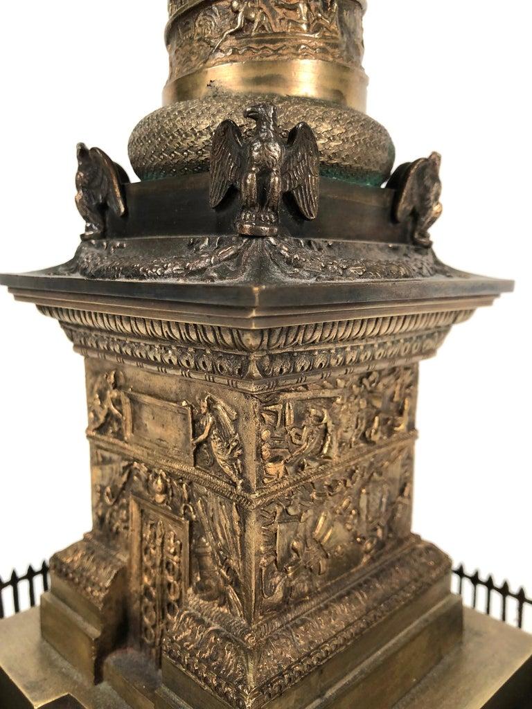 Large Grand Tour Gilt Bronze Model of the Place Vendome Napoleon Column in Paris For Sale 2
