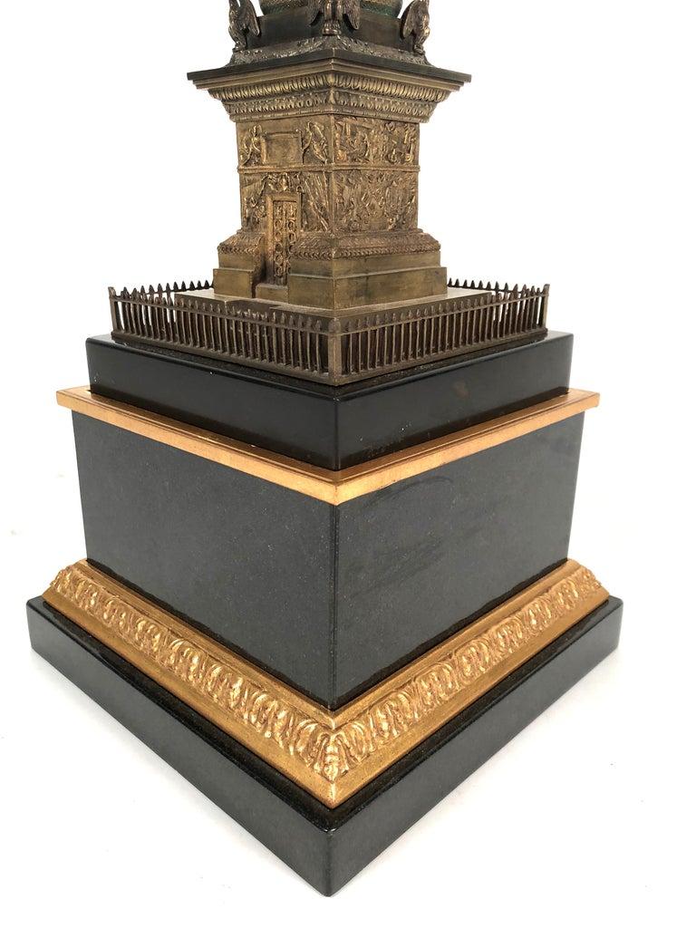 Large Grand Tour Gilt Bronze Model of the Place Vendome Napoleon Column in Paris For Sale 3