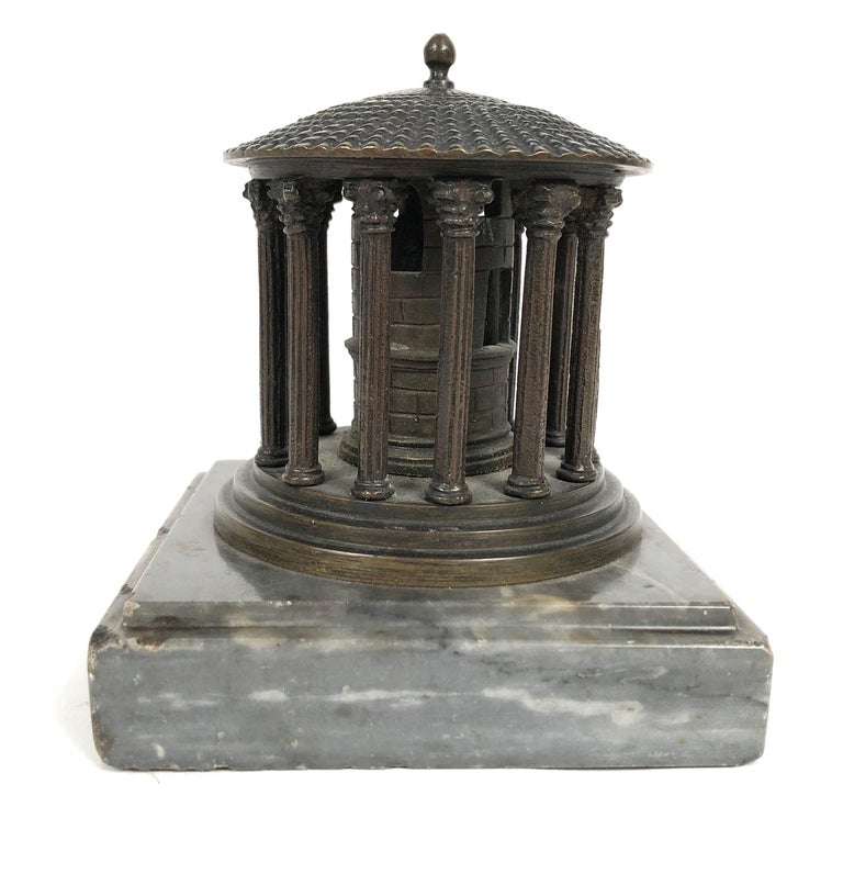 Italian 19th Century Neoclassical Grand Tour Bronze Model of the Temple of Vesta, Rome For Sale