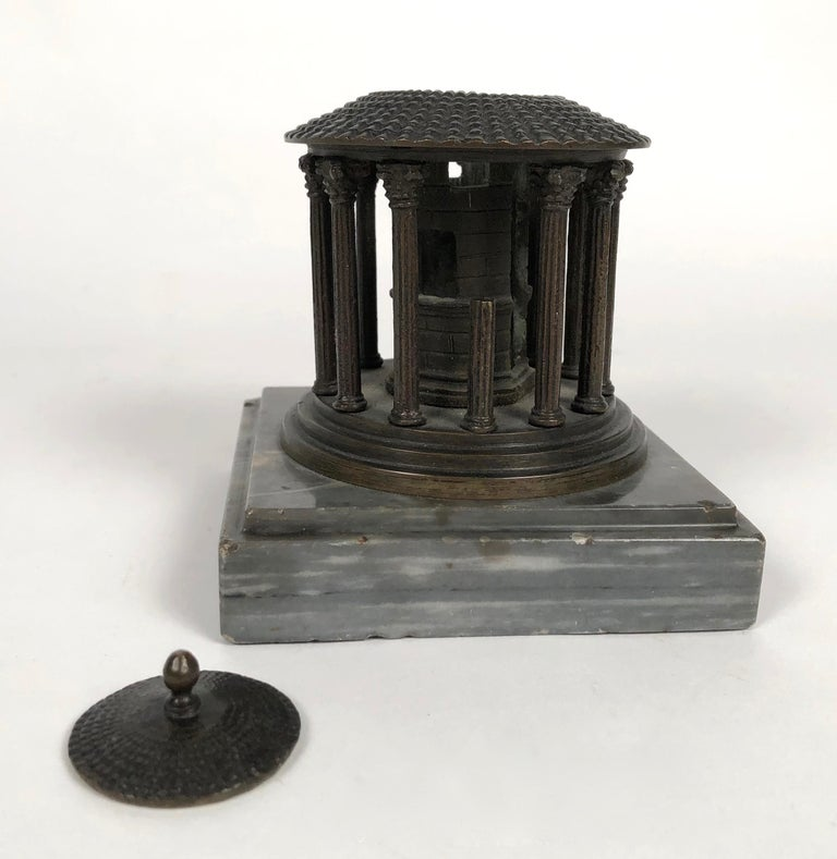 19th Century Neoclassical Grand Tour Bronze Model of the Temple of Vesta, Rome In Good Condition For Sale In Essex, MA