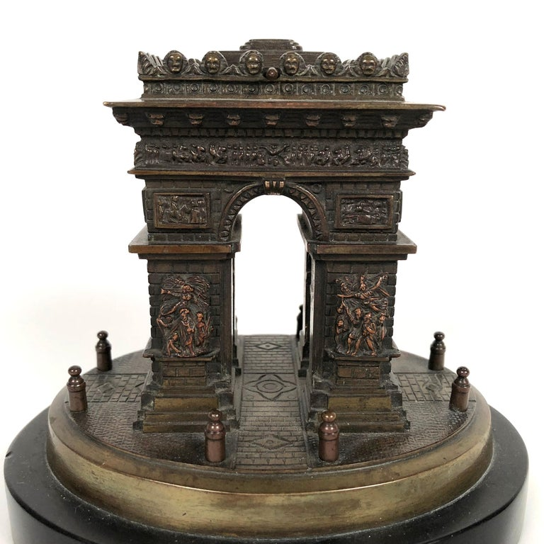 French Small Grand Tour Bonze Architectural Model of the Arc De Triomphe in Paris For Sale