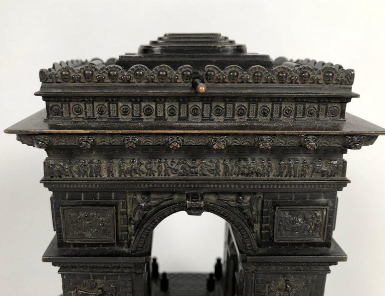 Cast 19th Century Grand Tour Bronze Architectural Model of the Arc De Triomphe, Paris For Sale