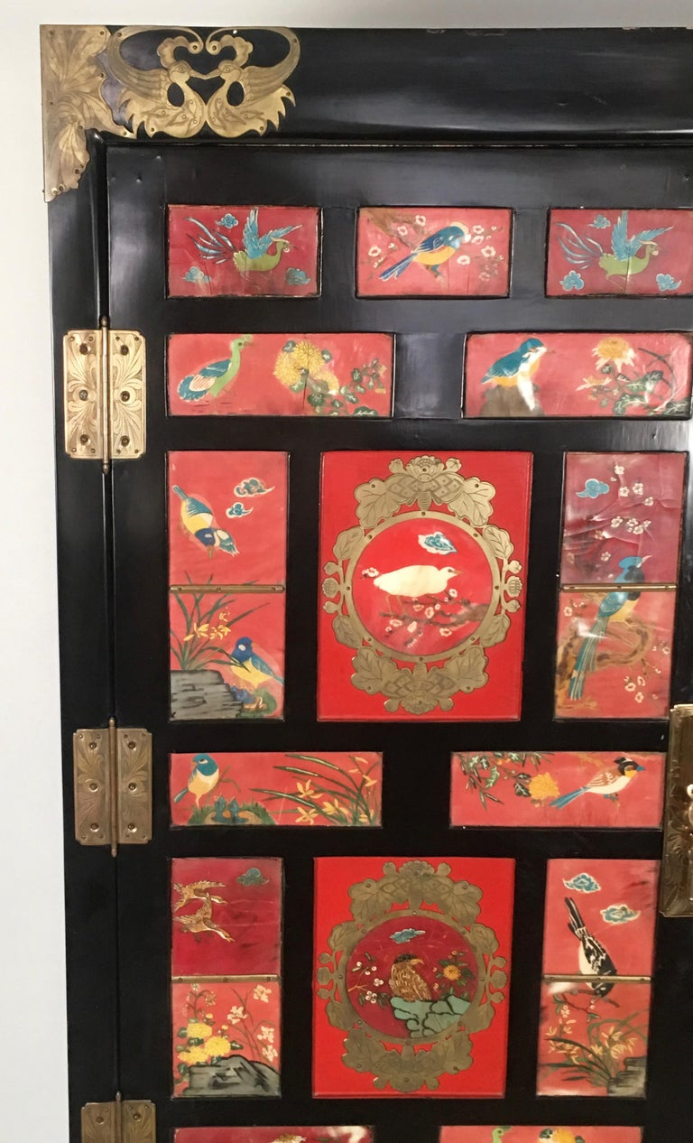Chinese Export Lacquered Cabinet with Hand-Painted Bird Decorated Panels For Sale 9