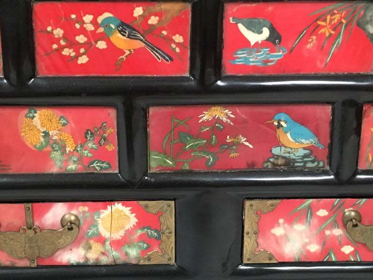 Chinese Export Lacquered Cabinet with Hand-Painted Bird Decorated Panels For Sale 11