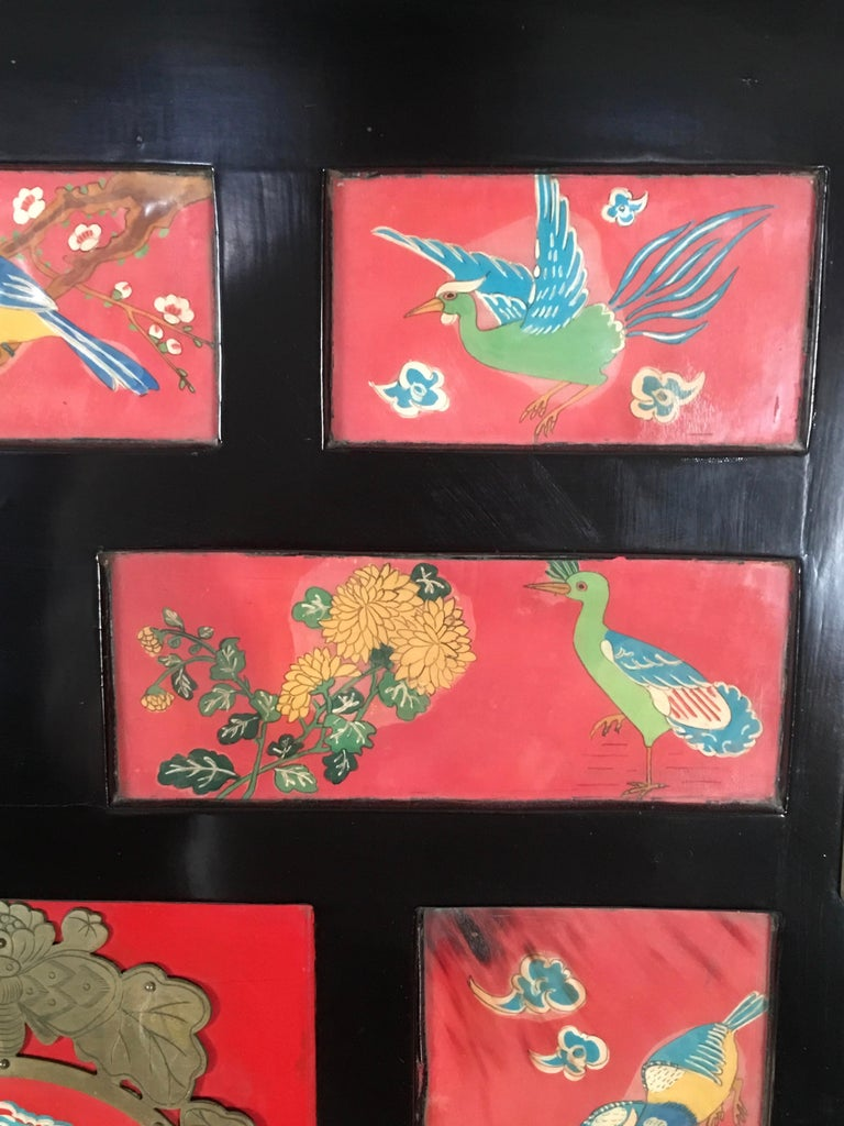 Chinese Export Lacquered Cabinet with Hand-Painted Bird Decorated Panels For Sale 12
