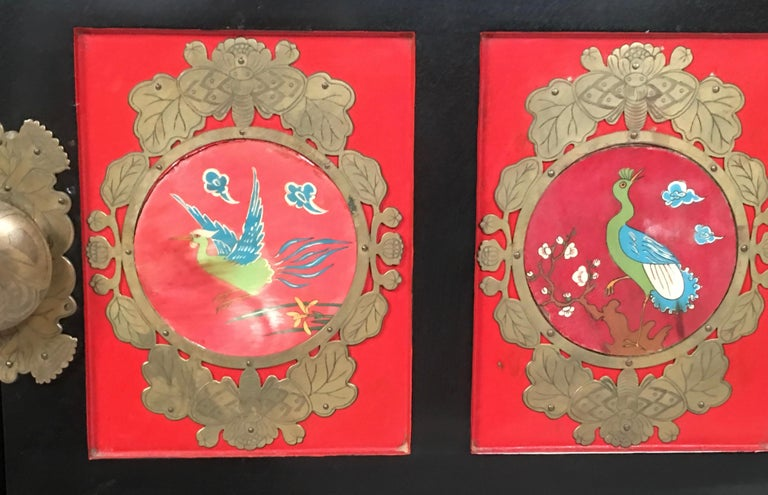 Chinese Export Lacquered Cabinet with Hand-Painted Bird Decorated Panels For Sale 14