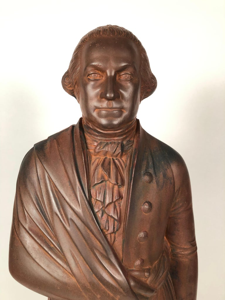 Large 19th Century George Washington Cast Iron Stove Figure In Good Condition For Sale In Essex, MA