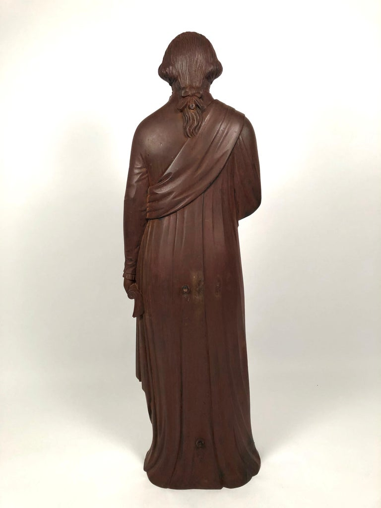 Carved Large 19th Century George Washington Cast Iron Stove Figure For Sale
