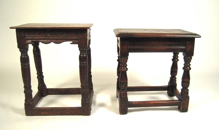 Two Jacobean English Joint Stools At 1stdibs