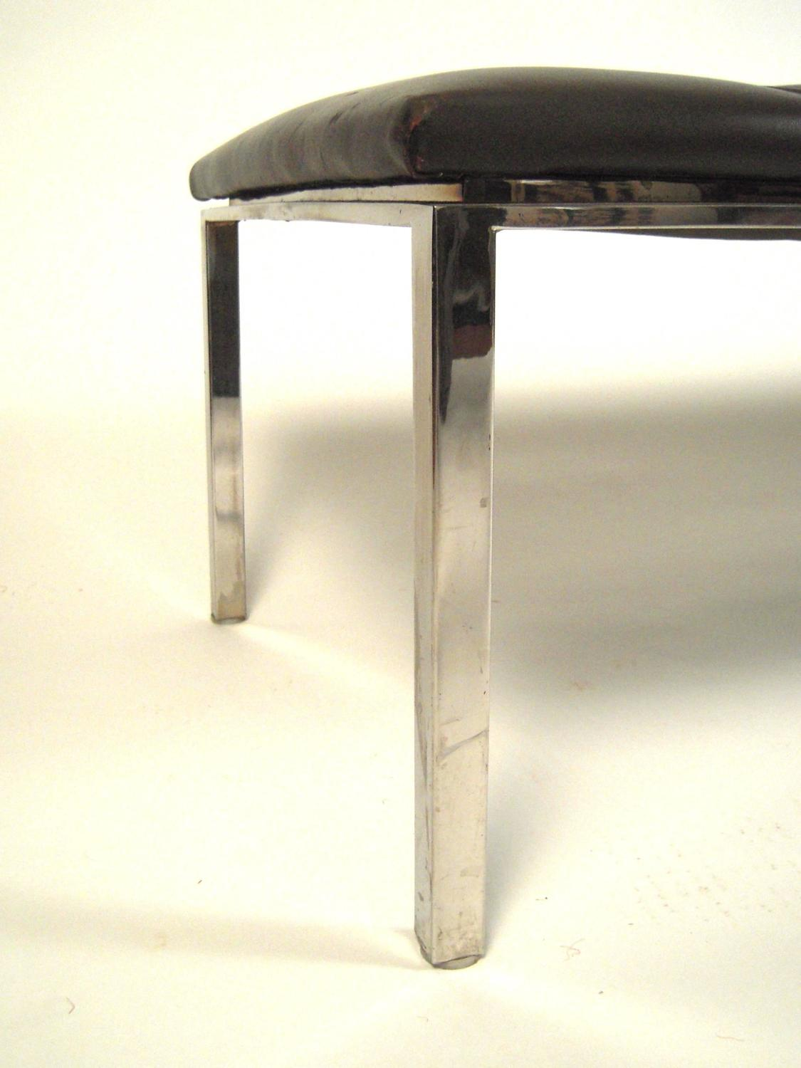 1970s Leather And Chrome Bench Or Coffee Table At 1stdibs