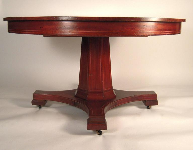"""Inlaid Mahogany Round Extension Dining Table 54"""" Diameter"""