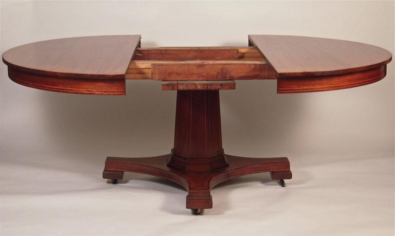 "Round Table For 4 Diameter: Inlaid Mahogany Round Extension Dining Table 54"" Diameter"