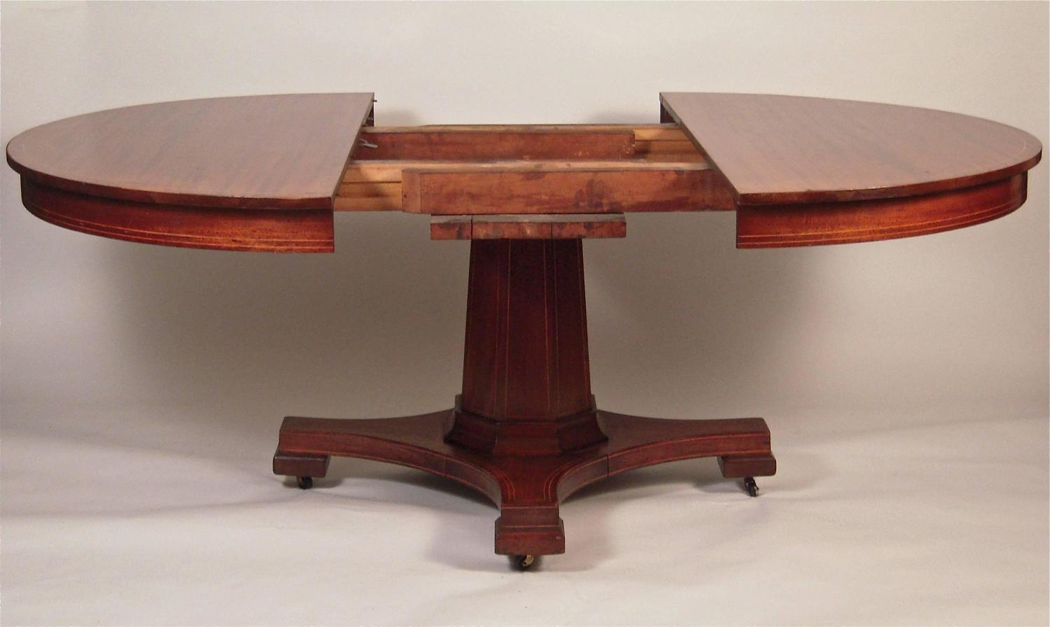 inlaid mahogany round extension dining table 54 diameter at 1stdibs. Black Bedroom Furniture Sets. Home Design Ideas