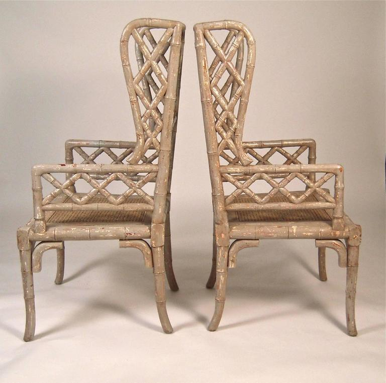 Pair Of Chinoiserie Faux Bamboo Wing Chairs At 1stdibs