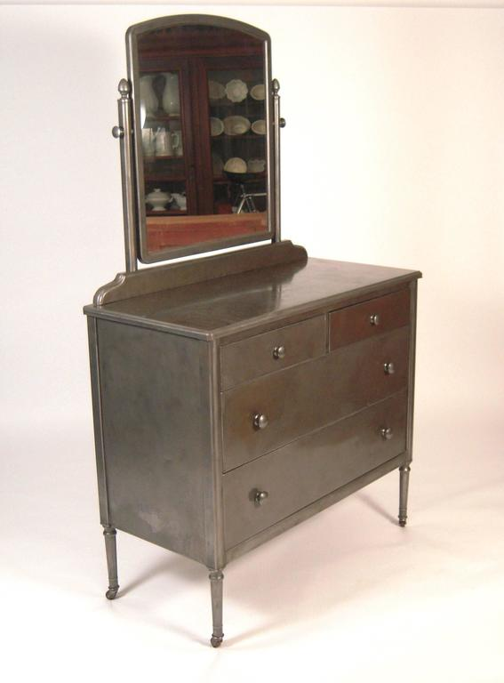 A Waxed Steel Sheraton Style Dresser With Good Patina The Adjule Swivel Mirror