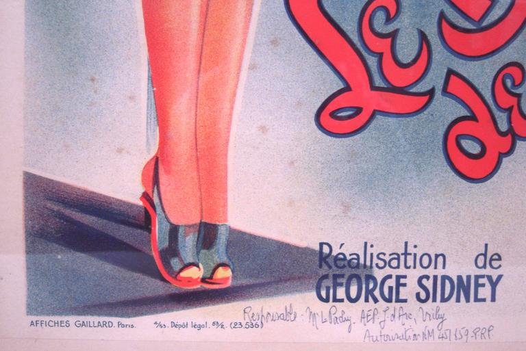 Paper French Movie Poster for Hollywood Movie Bathing Beauty For Sale