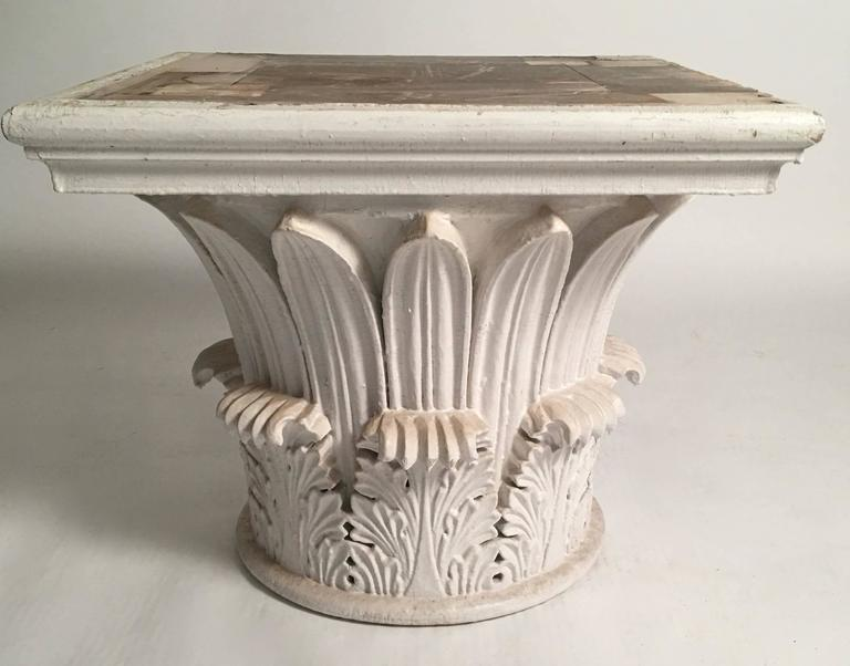 A pair of carved and painted wood neoclassical column