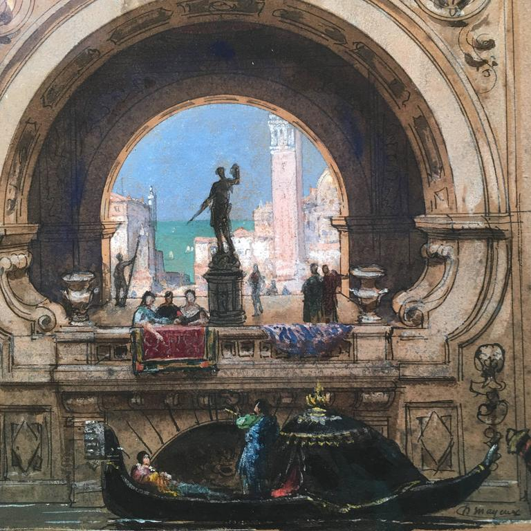Henri Mayeux Pastel Drawing of Venice In Excellent Condition For Sale In Essex, MA