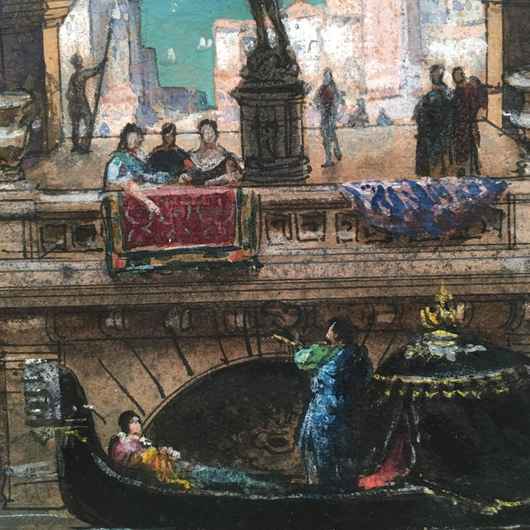 19th Century Henri Mayeux Pastel Drawing of Venice For Sale