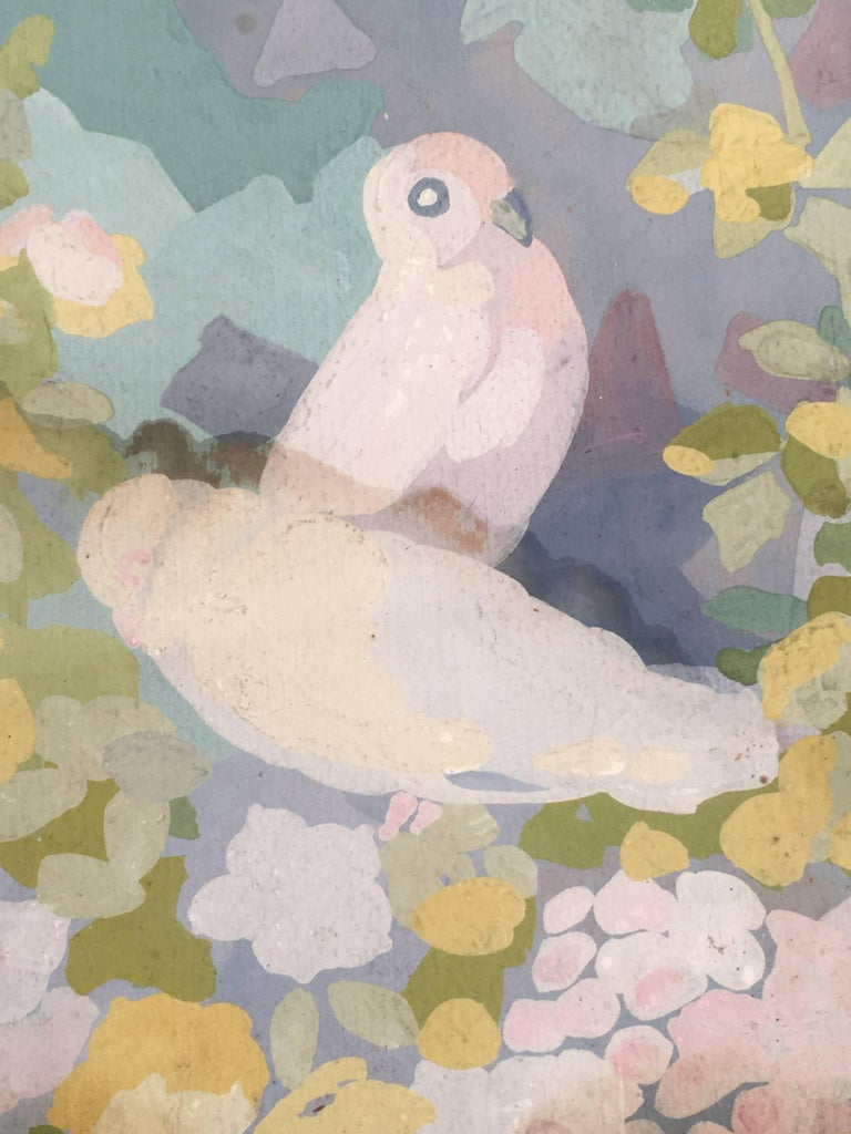 Art Deco Gouache Painting of Doves in a Floral Landscape 2