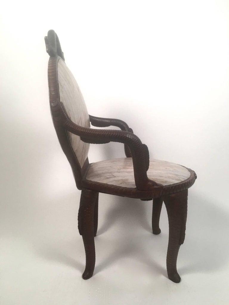 Folk Art 19th Century Fish Carved Armchair  For Sale