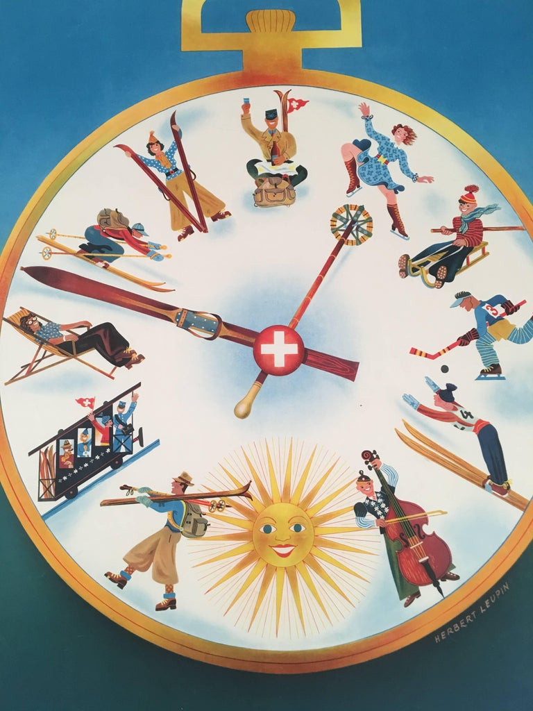 An original lithograph Swiss travel poster by graphic designer Herbert Leupin (Swiss, 1916-1999) entitled, in French, L'heure des sports d'hiver en Suisse (Time for Winter Sports in Switzerland), depicting a large pocket watch with a Swiss cross or