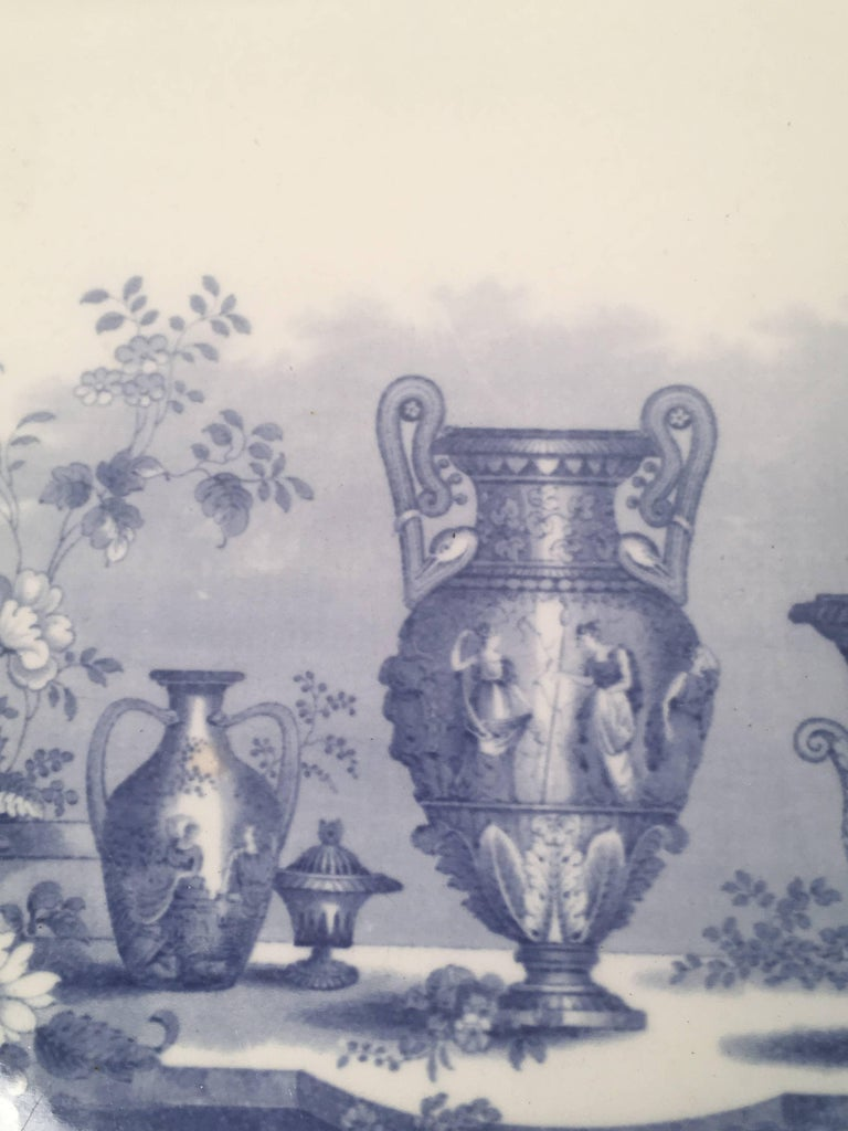 Glazed Blue and White Neoclassical Staffordshire Platter with Provenance For Sale