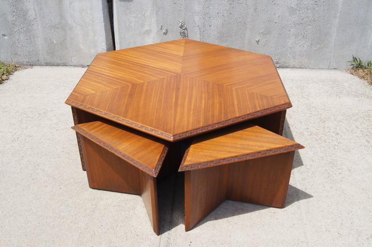 Hexagonal Coffee Table Set By Frank Lloyd Wright For