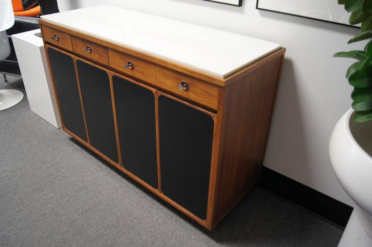 Small Walnut Sideboard with White Marble Top and Leather Panels by Paul  McCobb 2 - Small Walnut Sideboard With White Marble Top And Leather Panels By