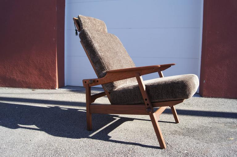 Scandinavian Modern Danish Adjustable Teak High Back Lounge Chair For Sale