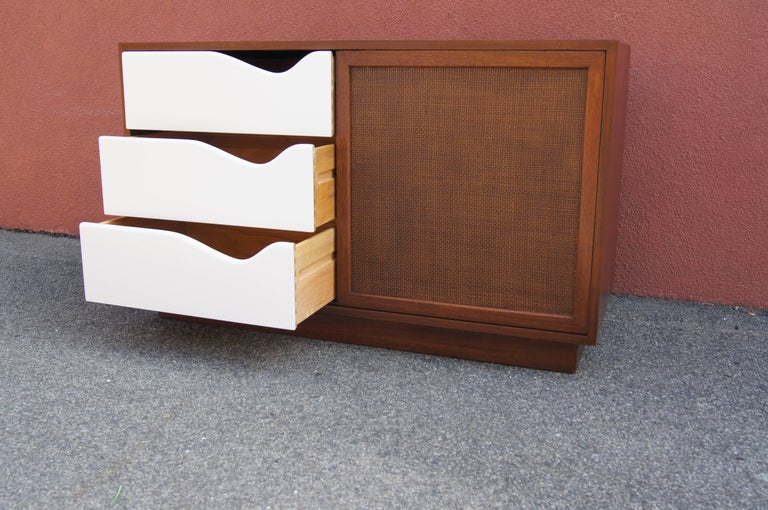 Mid-Century Modern Small Cabinet with Cane Doors by Harvey Probber For Sale