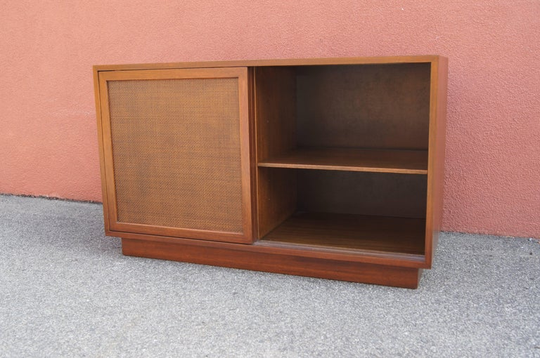 American Small Cabinet with Cane Doors by Harvey Probber For Sale