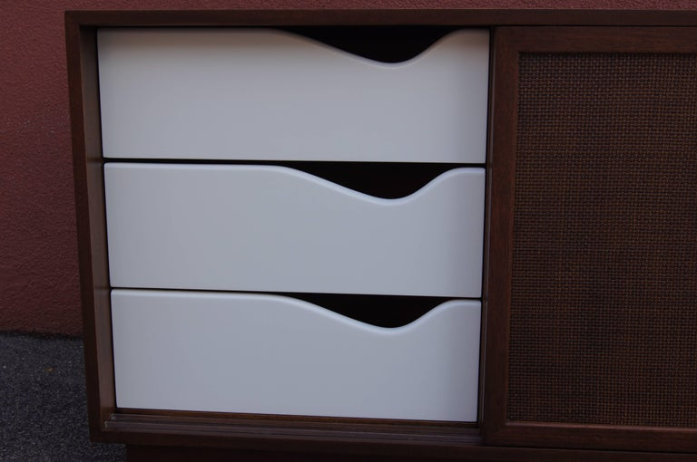 Mid-20th Century Small Cabinet with Cane Doors by Harvey Probber For Sale