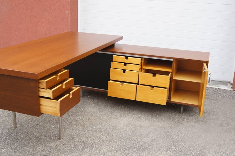 Mid-Century Modern Walnut EOG Desk with Storage Unit by George Nelson for Herman Miller For Sale