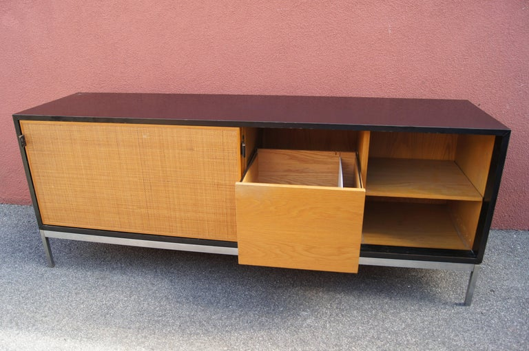 Mid-Century Modern Credenza with Cane Doors and Black Laminate Case by Florence Knoll For Sale