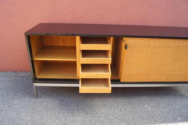 American Credenza with Cane Doors and Black Laminate Case by Florence Knoll For Sale