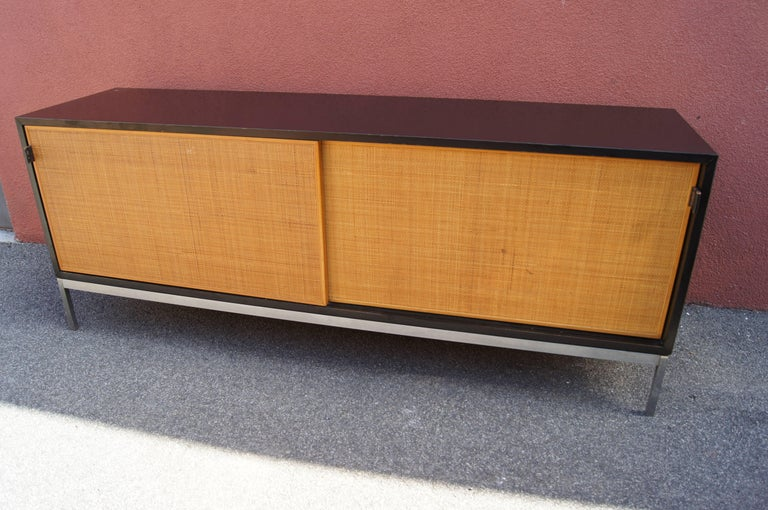 Credenza with Cane Doors and Black Laminate Case by Florence Knoll In Good Condition For Sale In Boston, MA