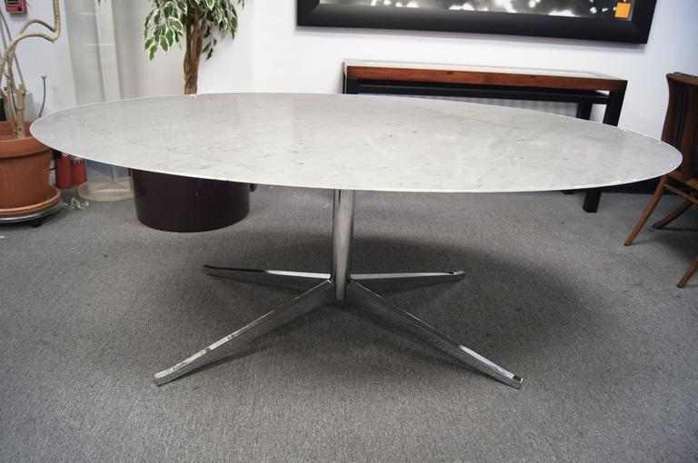 Mid Century Modern Marble And Chrome Oval Conference Or Dining Table By Florence Knoll For