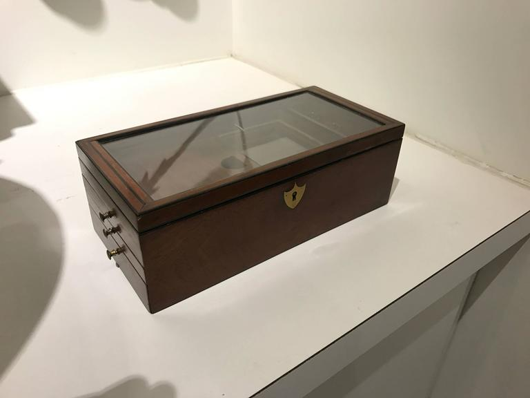 19th century mahogany document box with key.