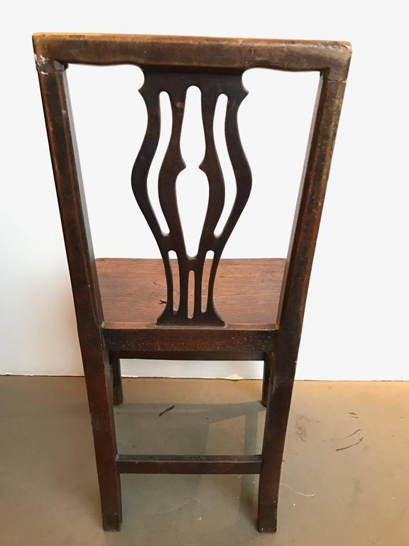 18th Century and Earlier Set of Four 18th Century English Oak Country Chippendale Side Chairs For Sale
