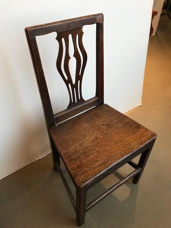 Set of Four 18th Century English Oak Country Chippendale Side Chairs In Excellent Condition For Sale In Boston, MA