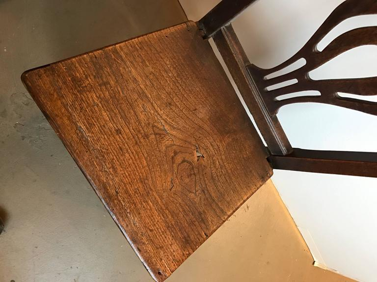 Set of Four 18th Century English Oak Country Chippendale Side Chairs For Sale 1
