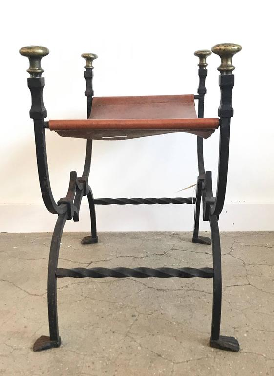 Pair of 19th Century Iron and Leather Benches In Excellent Condition For Sale In Boston, MA