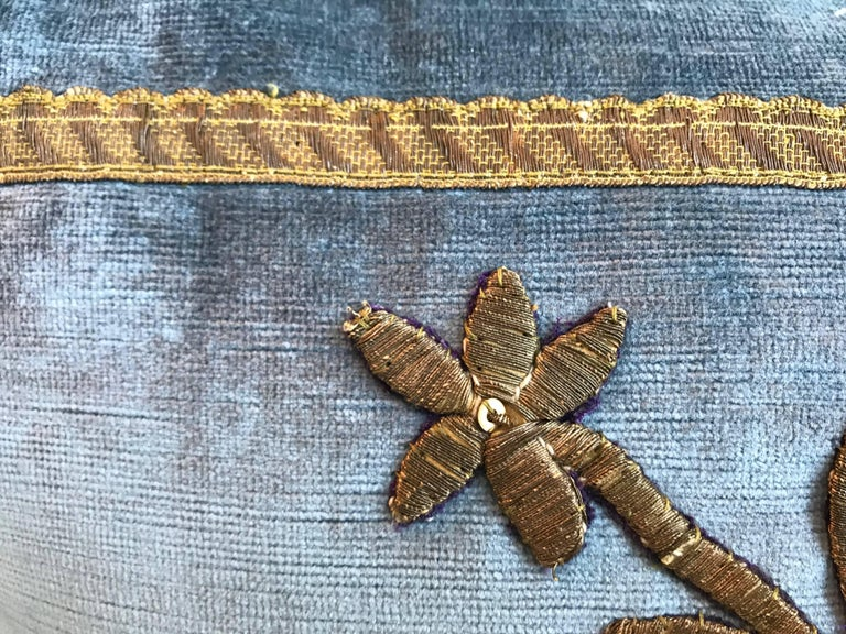 European Antique Ottoman Gold Embroidery Pillow For Sale